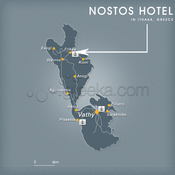 Location Hotel Nostos in Ithaca Island Frikes